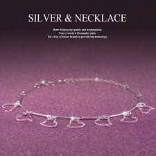 Women 925 Sterling Silver Crystal Chain Bangle Cuff Charm Bracelet Jewelry EP.