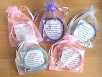 Set of 5 Wish Bracelets with Organza bags GIRLS PARTY BAG Fillers Gifts Favours