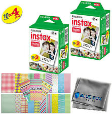 Fujifilm Instax Mini Instant Film -40 SHEETS- For Mini 8 & 9 Cameras + Stickers