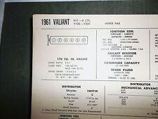 1961 Valiant Series RV1 V100-V200 Hyper Pak 170 CI SUN Tune Up Chart Sheet Great