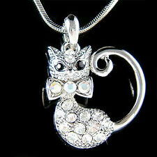 w Swarovski Austrian Crystal ~Kitty Cat Kitten animal pet Pendant Charm Necklace