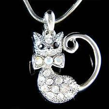 w Swarovski Austrian Crystal ~Kitty Cat Kitten animal pet Pendant Charm Necklace