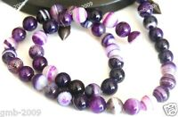 """6mm 8mm 10mm Natural Smooth Purple Stripe Agate Round Gemstone Loose Beads 15"""""""