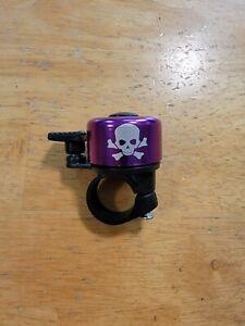 """Skull and Crossbones Handlebar Mount Bike Bell  7/8"""" 22.2mm Mini Bell Purple"""