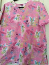 Woman's Nurses Disney Scrub Top Pink Tinkerbell Size Large