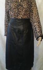 Jacqueline Ferrar Black Genuine Leather Skirt Criss Cross Front Yoke Sz 6 Lined