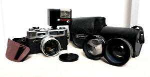 YASHICA ELECTRO 35 GSN 35mm film Rangefinder Camera with case and Aux lenses