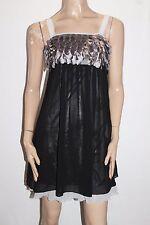 VOIR Designer Black Silver Chiffon Petal Trim Dress Size XS BNWT #SM18