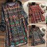 Vintage Femme Oversize Casuel Floral Manche longue Loose Haut Chemises Shirt