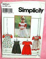 Uncut Simplicity Child Girls 2-4 Raised Waist Dress Pinafore Blouse Pattern 9231