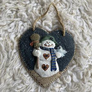 Winter Hanging Door Decor Snowman Christmas Holidays Heart Ceramic Painted
