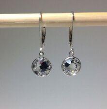 Sterling Silver Swarovski Crystal Elements 7mm Rose Cut Lever Back Earrings