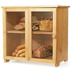 Large Bamboo Wood Bread Box Kitchen Counter Top Fresh Food Keeper Storage Holder