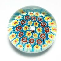 """VTG Art Glass Multi Colored Millefiori Floral Paperweight 1 3/4"""" Tall Small Size"""
