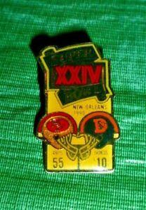 Vintage San Francisco 49ers NFL Super Bowl XXIV Champs Pin
