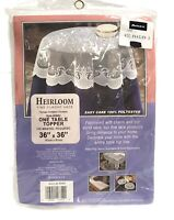 """Vintage Heirloom Classic Lace Round Table Topper 36"""" X 36"""" Ehite Polyester NEW"""