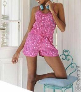 Vivance Dreams Kurzer Jumpsuit Overall Pyjama Pink Heart Neu