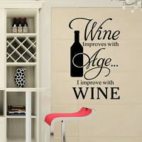 Wine Quote Words Removable Kitchen Wall Sticker Art Vinyl Decal Home Decor