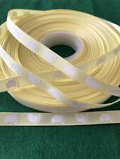 Brand New - 2 Metres Lemon & White Baby Footprint Grosgrain Ribbon - 10mm