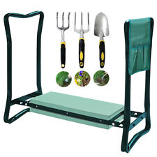 Folding Foam Padded Garden Kneeler Stool Seat + Tools Bag & Claw Fork Trowel Set