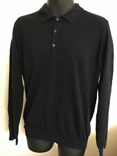 River Woods Men's Jumper Sweater Wool Polo Neck Dark Navy Tight Fit Size L
