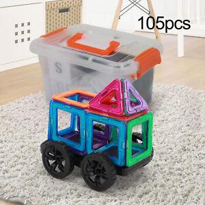 105PCS Kids DIY 3D Magnetic Blocks Set Multicolour Building Develop Ideas Toy