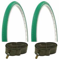 """2 GREEN 26X1 3/8"""" BIKE TIRES/ TUBES 37-590"""