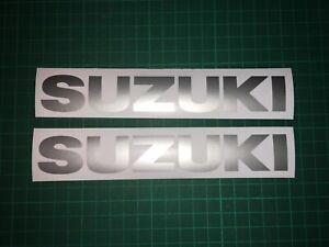 (X2) SUZUKI LOGO Stickers Decals Motorbike Pair BIKE TANK 180x28mm GLOSS SILVER
