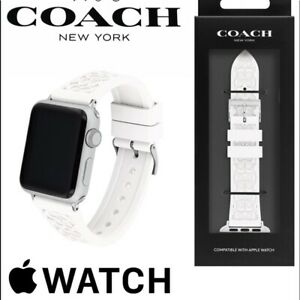 COACH Logo White Black Blue Teal Pink Rubber APPLE 38 40 mm WATCH BAND STRAP