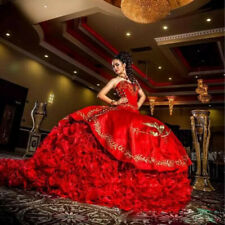 Luxurious Red Ball Gown Quinceanera Dresses 2021 Gold Embroidery Prom Dress