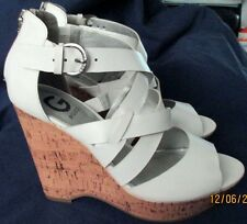 "NEW ""G By Guess""  Women's White Leather, 4.5"" Cork Wedge Sandal Heel, S. 9 M"