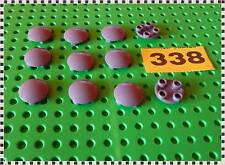 338 LEGO 2654 DBG Plate, Round 2 x 2 with Rounded Bottom (Boat Stud) X 11 Pcs