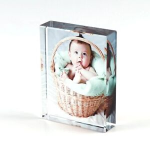 Personalised Photo 3D Effect Crystal Glass Block Mum Dad Friends Gift