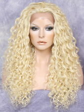 """30"""" Human Hair Blend Full Lace Front Wig Heat OK Spiral Curly pale Blonde 613"""
