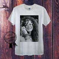 Janis Joplin T-Shirt For Men Women Unisex White Grey UK Hippy Rock Peace Vintage