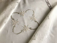 "VINTAGE HAND EMBROIDERED OFF WHITE LINEN "" LACE INSERT TABLECLOTH 43X43 INCHES"