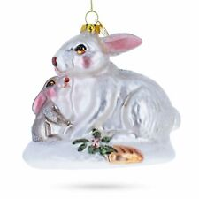 Mother and Baby Rabbit Blown Glass Christmas Ornament