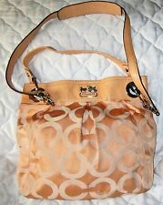 COACH MADISON OP ART PEACH SIGNATURE SATEEN/LEATHER SHOULDER CROSSBODY BAG 14579