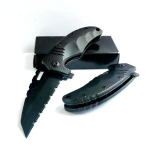 Wharncliffe Knife Serrated Folding Pocket Hunting Survival Tactical Combat Black