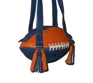 NEW r25 Blue/Orange FOOTBALL PURSE Shoulder Bag NFL Denver Broncos Florida Gator