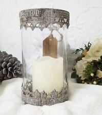 Windlicht Lilie Teelichthalter Metall Glas braun Shabby Vintage Garten Landhaus