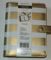 Recollections 40 pc Personal Planner Binder A6 Gold and Ivory Stripe NEW