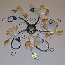 PLAFONIERA lampada soffitto CLASSICO barocco ferro battuto foglie vetri MURANO