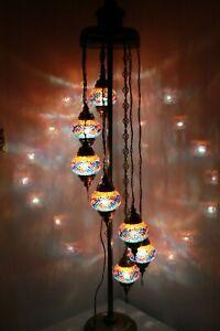 New Multicolour 7 Glass Turkish Moroccan Style Handmade Glass Floor Lamp