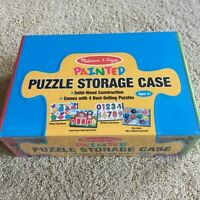 New Melissa & Doug 4 Solid-Wood Puzzle Set With Wooden Storage Case