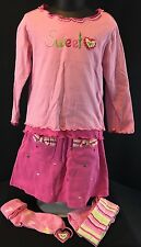 Gymboree SWEETHEART Girls 4 Pink Hearts 5 Piece Outfit Set Shirt Skort Tights