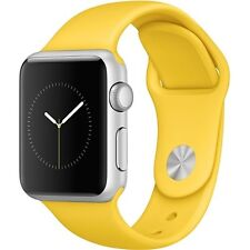 NEW Apple Watch 38mm Silver Aluminum Case with Yellow Sport Band Series 1