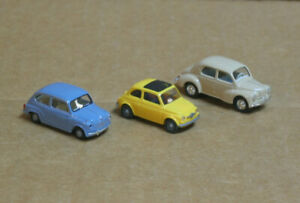 BUSCH/WIKING HO 3 Cars, 1 Fiat, 1 Renault and 1 Unknown