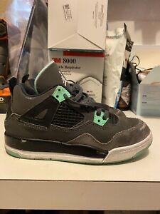 Air Jordan Retro 4 IV Green Glow Kids Sz 13.5 FAIR CND; MUST SEE!