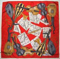 """Luxury TRUSSARDI Designer MUSIC Notes INSTRUMENTS Gray Brown RED Silk 32"""" SCARF"""